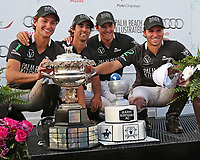 WELLINGTON, FL - APRIL 15:  Team Palm Beach Illustrated (Jared Zenni, Agustin Obregon, Tommy Collingwood, Santi Torres) with the Championship Trophy after winning the $100,000 World Cup Final, defeating Valiente I 13-7, at the Grand Champions Polo Club, on April 15, 2017 in Wellington, Florida. (Photo by Liz Lamont/Eclipse Sportswire/Getty Images)