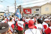 SAO PAULO, SP, 30.01.2014 - PROTESTO - SINDIMOTO SP - Manifestantes ligados a União Geral de Trabalhadores (UGT) realizam ato em frente ao Sindimotos-SP (Sindicato dos Motoboys e Mototaxistas de São Paulo) para reivindicar melhorias para a classe, nesta quinta-feira, 30, no bairro do Ipiranga, zona sul da cidade de São Paulo. (Foto: William Volcov / Brazil Photo Press).