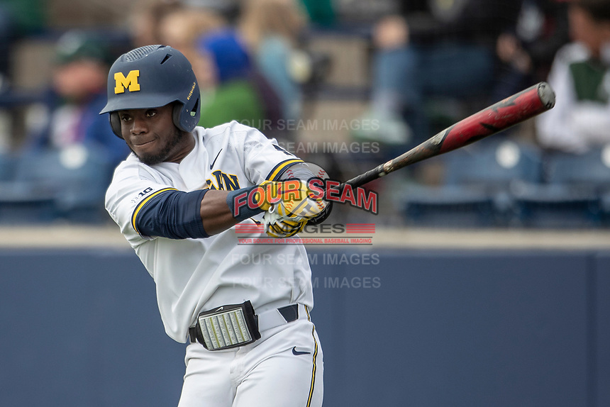 Michigan Wolverines second baseman Ako Thomas (4) on deck during the NCAA baseball game against the Michigan State Spartans on May 7, 2019 at Ray Fisher Stadium in Ann Arbor, Michigan. Michigan defeated Michigan State 7-0. (Andrew Woolley/Four Seam Images)
