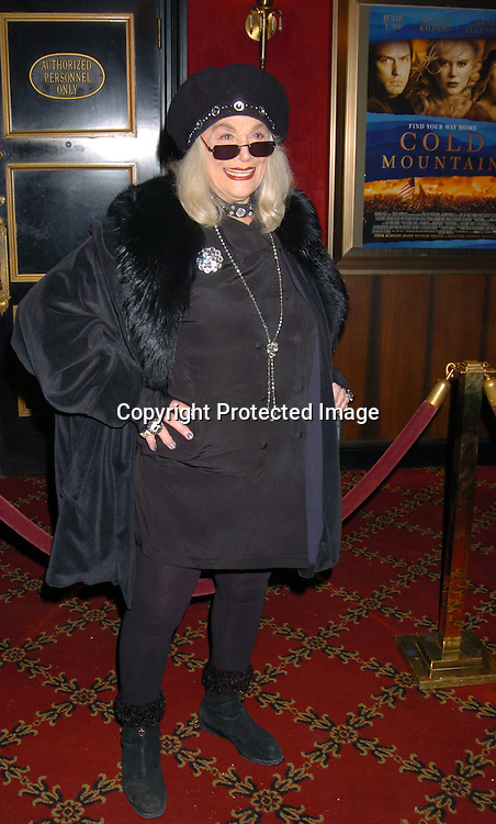 "Sylvia Miles..at the New York premiere of "" Cold Mountain"" at the ..Ziefeld theatre on December 9, 2003.  Photo by Robin Platzer, Twin Images"