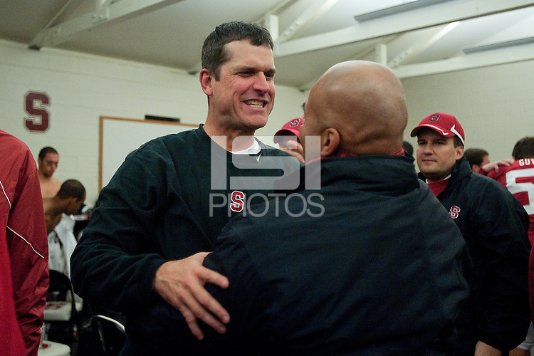 STANFORD, CA - November 27, 2010: Head Coach Jim Harbaugh during a football game against Oregon State University at Stanford Stadium, in Stanford, California. Stanford beat Oregon State 38-0.