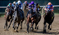 ELMONT, NY - JULY 09: The field turns for home in the Dwyer Stakes, eventually won by Firenze FIre (red and green cap, left) during Stars and Stripes Racing Festival  at Belmont Park on July 7, 2018 in Elmont, New York. (Photo by Dan Heary/Eclipse Sportswire/Getty Images)