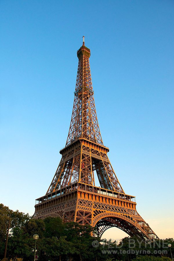 Eiffel Tower against a blue sky