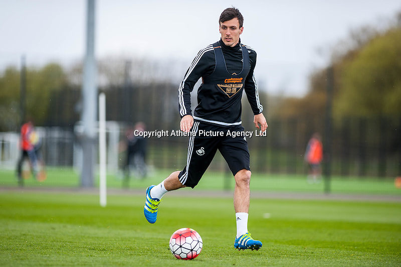 Wednesday  27 April 2016<br /> Pictured: Jack Cork During training <br /> Re: Swansea City Training Session at the Fairwood Ground, Swansea, Wales, UK