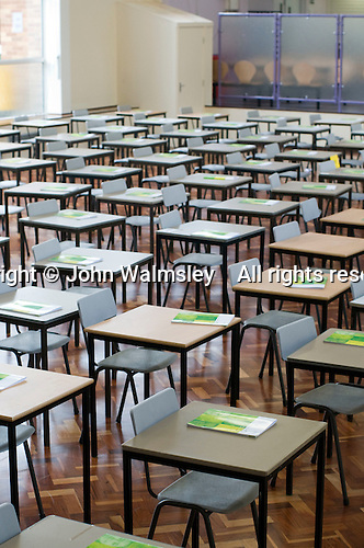 State secondary school.  Empty exam hall..