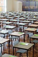 State secondary school.  Empty exam hall..