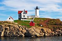 Nubble lighthouse at Cape Neddick, Maine. Digitally enhanced.