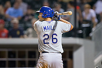 Luke Maile (26) of the Durham Bulls at bat against the Charlotte Knights at BB&T BallPark on July 22, 2015 in Charlotte, North Carolina.  The Knights defeated the Bulls 6-4.  (Brian Westerholt/Four Seam Images)