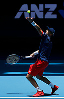 3rd January 2020; RAC Arena, Perth, Western Australia; ATP Cup Australia, Perth, Day 1,; USA v Norway Casper Ruud of Norway serves during his match against John Isner of the USA - Editorial Use