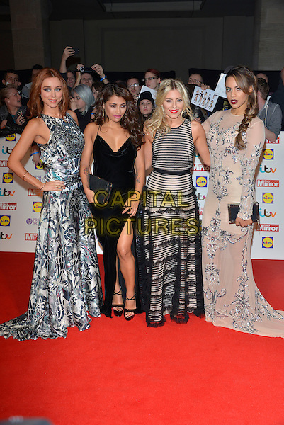 The Saturdays - Una Healy, Vanessa White, Mollie King and Rochelle Wiseman<br /> The Daily Mirror's Pride of Britain Awards arrivals at the Grosvenor House Hotel, London, England.<br /> 7th October 2013<br /> full length black grey gray beige pattern stripe print dress band group slit split  <br /> CAP/PL<br /> &copy;Phil Loftus/Capital Pictures