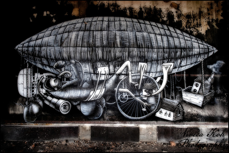 Painting by artist Phlegm in abandoned building in Sheffield, South Yorkshire http://www.vivecakohphotography.co.uk/2011/08/11/balloons-ancient-and-modern/