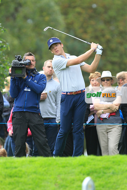 Sam Burns (USA) on the 17th tee during Day 2 Singles for the Junior Ryder Cup 2014 at Blairgowrie Golf Club on Tuesday 23rd September 2014.<br /> Picture:  Thos Caffrey / www.golffile.ie