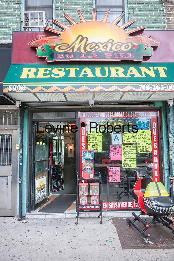Mexico En La Piel restaurant in the neighborhood of Sunset Park in Brooklyn in New York, seen on Sunday, May 14, 2017. The area is home to a polyglot of immigrants including Mexican, Middle-Eastern and Asian. (© Richard B. Levine)