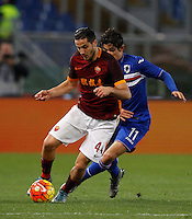 Calcio, Serie A: Roma vs Sampdoria. Roma, stadio Olimpico, 7 febbraio 2016.<br /> Roma&rsquo;s Kostas Manolas, left, is challenged by Sampdoria&rsquo;s Dodo&rsquo; during the Italian Serie A football match between Roma and Sampdoria at Rome's Olympic stadium, 7 January 2016.<br /> UPDATE IMAGES PRESS/Riccardo De Luca