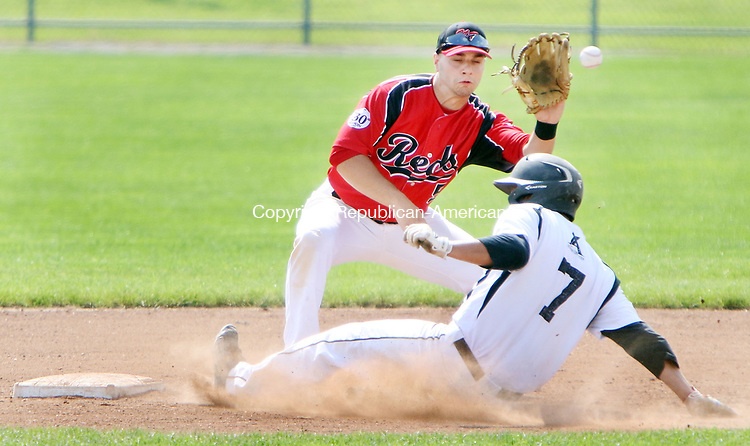TORRINGTON CT. 04 Augusr 2017-080417SV07-#7 Chris Ayer of Watertown Blaze slides safe into 2nd as #5 Mike Cassese North Haledon Reds gets the late throw in the 1st inning during the Stan Musial tournament in Torrington Friday.<br /> Steven Valenti Republican-American