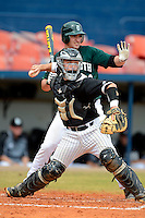 Long Island Blackbirds catcher Chris Untereiner #18 throws to first in front of Dustin Selzer #24 during a game against the Dartmouth Big Green at Chain of Lakes Stadium on March 17, 2013 in Winter Haven, Florida.  Dartmouth defeated Long Island 11-4.  (Mike Janes/Four Seam Images)