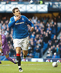 Nikica Jelavic celebrates his first and Rangers second goal