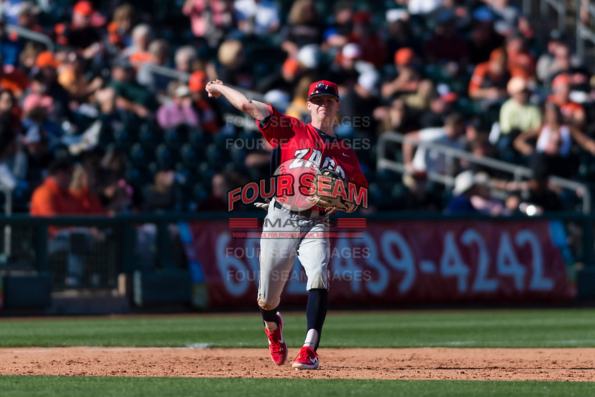 Gonzaga Bulldogs third baseman Ernie Yake (15) throws to first base during a game against the Oregon State Beavers on February 16, 2019 at Surprise Stadium in Surprise, Arizona. Oregon State defeated Gonzaga 9-3. (Zachary Lucy/Four Seam Images)