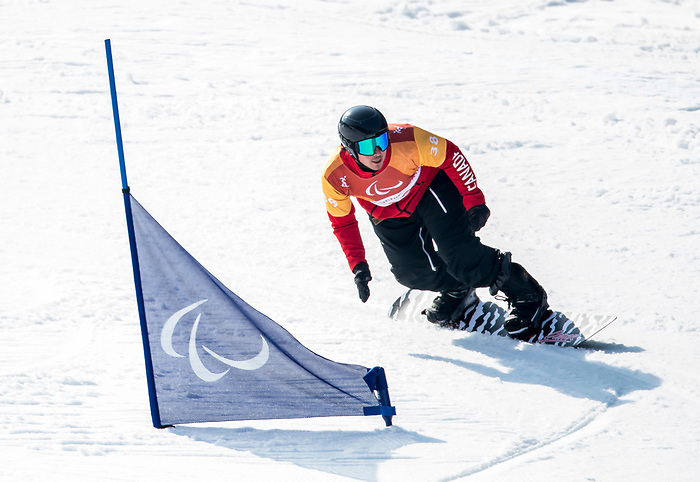 PyeongChang 10/3/2018 - Alex Massie during a snowboard cross training session at the Jeongseon Alpine Centre during the 2018 Winter Paralympic Games in Pyeongchang, Korea. Photo: Dave Holland/Canadian Paralympic Committee