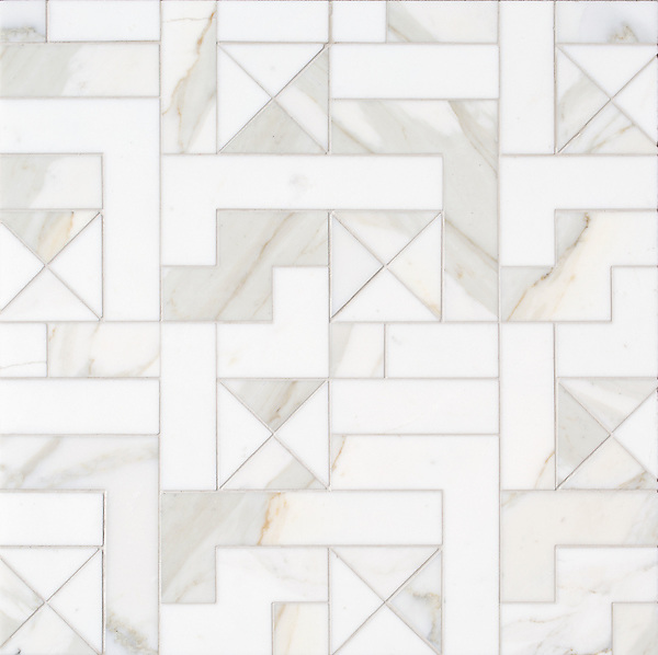Centos, a stone waterjet mosaic, show in honed Calacatta Gold, is part of the Miraflores Collection by Paul Schatz for New Ravenna.