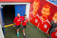 James Collins and Joe Ledley walk out of the tunnel area for Wales training ahead of the World Cup 2018 qualification match against Moldova at Cardiff City Stadium, Cardiff, Wales on 4 September 2016. Photo by Mark  Hawkins / PRiME Media Images.