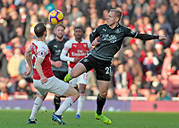 Matej Vydra vies for possession with Arsenal's Stephan Lichtsteiner<br /> <br /> Photographer David Shipman/CameraSport<br /> <br /> The Premier League - Arsenal v Burnley - Saturday 22nd December 2018 - The Emirates - London<br /> <br /> World Copyright © 2018 CameraSport. All rights reserved. 43 Linden Ave. Countesthorpe. Leicester. England. LE8 5PG - Tel: +44 (0) 116 277 4147 - admin@camerasport.com - www.camerasport.com
