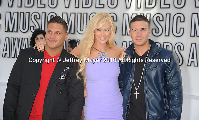 LOS ANGELES, CA. - September 12: Ronnie Ortiz-Magro, Jenna Jameson and Vinny Guadagnino  arrive at the 2010 MTV Video Music Awards held at Nokia Theatre L.A. Live on September 12, 2010 in Los Angeles, California.