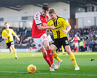 Fleetwood Town's Ashley Nadesan shields the ball from Burton Albion's Kyle McFadzean<br /> <br /> Photographer Chris Vaughan/CameraSport<br /> <br /> The EFL Sky Bet League One - Saturday 23rd February 2019 - Burton Albion v Fleetwood Town - Pirelli Stadium - Burton upon Trent<br /> <br /> World Copyright © 2019 CameraSport. All rights reserved. 43 Linden Ave. Countesthorpe. Leicester. England. LE8 5PG - Tel: +44 (0) 116 277 4147 - admin@camerasport.com - www.camerasport.com