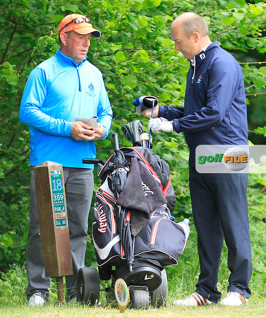 Joe Lyons (Galway) on the 18th tee during Round 3 of the Irish Mid-Amateur Open Championship at New Forest on Sunday 21st June 2015.<br /> Picture:  Thos Caffrey / www.golffile.ie