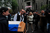 Montreal  (QC) CANADA - Oct 3 2009 - Family and PQ members gather to pay tribute filmmaker and separatist figure Pierre Falardeau, Oct 3rd 2009 at Saint-Jean-Baptiste church in Montreal.In the photo :  his son (with glasses)