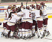 The Eagles celebrate their victory. - The Boston College Eagles celebrate winning the 2014 Beanpot championship on Tuesday, February 11, 2014, at Kelley Rink in Conte Forum in Chestnut Hill, Massachusetts.