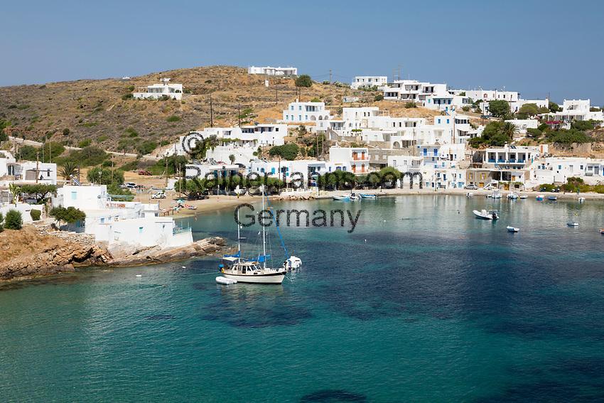 Greece, South Aegean, Cyclades, Sifnos  island, Faros: View over Faros on island's south east coast | Griechenland, Suedliche Aegaeis, Kykladen, Insel Sifnos, Faros: an der Sued-Ost-Kueste