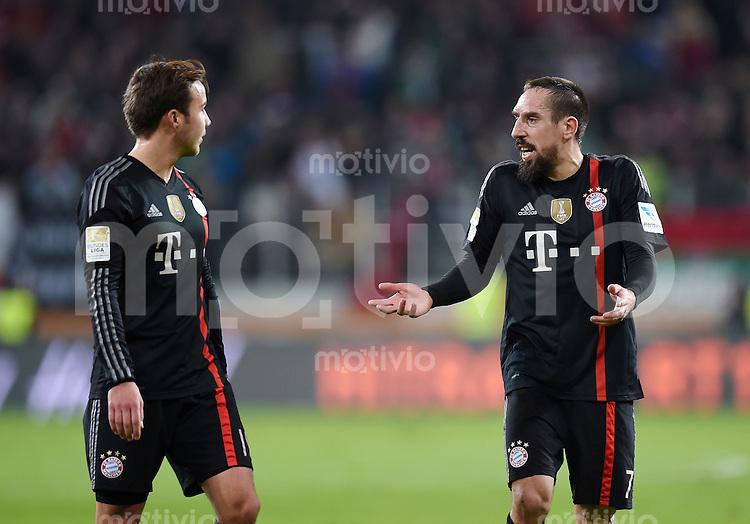 Fussball  1. Bundesliga  Saison 2014/2015  15. Spieltag  FC Augsburg - FC Bayern Muenchen     13.12.2014 Franck Ribery (re, FC Bayern Muenchen) und Mario Goetze (FC Bayern Muenchen)