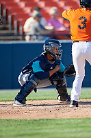 Lynchburg Hillcats catcher Angel Lopez Alvarez (20) awaits the pitch during the first game of a doubleheader against the Frederick Keys on June 12, 2018 at Nymeo Field at Harry Grove Stadium in Frederick, Maryland.  Frederick defeated Lynchburg 2-1.  (Mike Janes/Four Seam Images)