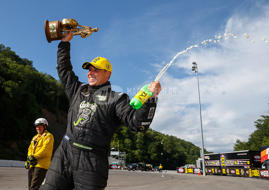 Jun 18, 2017; Bristol, TN, USA; NHRA pro stock driver Alex Laughlin celebrates after winning the Thunder Valley Nationals at Bristol Dragway. Mandatory Credit: Mark J. Rebilas-USA TODAY Sports