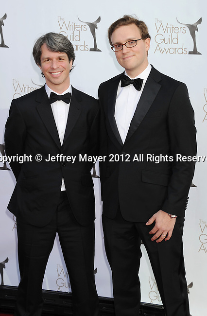 LOS ANGELES, CA - FEBRUARY 19: Marshall Curry and Matthew Hamachek arrive at the 2012 Writers Guild Awards at the Hollywood Palladium on February 19, 2012 in Los Angeles, California.