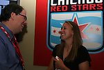 16 January 2009: Nikki Krzysik, with team president Peter Wilt, was taken by the Chicago Red Stars with the thirteenth overall pick (sixth of the second round). The 2009 inaugural Womens Pro Soccer (WPS) Draft was held at the Convention Center in St. Louis, Missouri in conjuction with the National Soccer Coaches Association of America's annual convention.