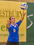 1 November 2015: Yeshiva University Maccabee Libero and Defensive Specialist Dalia Sieger, a Sophomore from Los Angeles, CA, serves against the SUNY College at Old Westbury Panthers at SUNY Old Westbury in Old Westbury, NY. The Panthers edged out the Maccabees 3-2 in NCAA women's volleyball, Skyline Conference play. Mandatory Credit: Ed Wolfstein Photo *** RAW (NEF) Image File Available ***