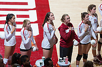 STANFORD, CA - October 12, 2018: Payton Chang, Kate Formico, Audriana Fitzmorris, Alexis Froistad, Caitlin Keefe, Sidney Wilson at Maples Pavilion. No. 2 Stanford Cardinal swept No. 21 Washington State Cougars, 25-15, 30-28, 25-12.