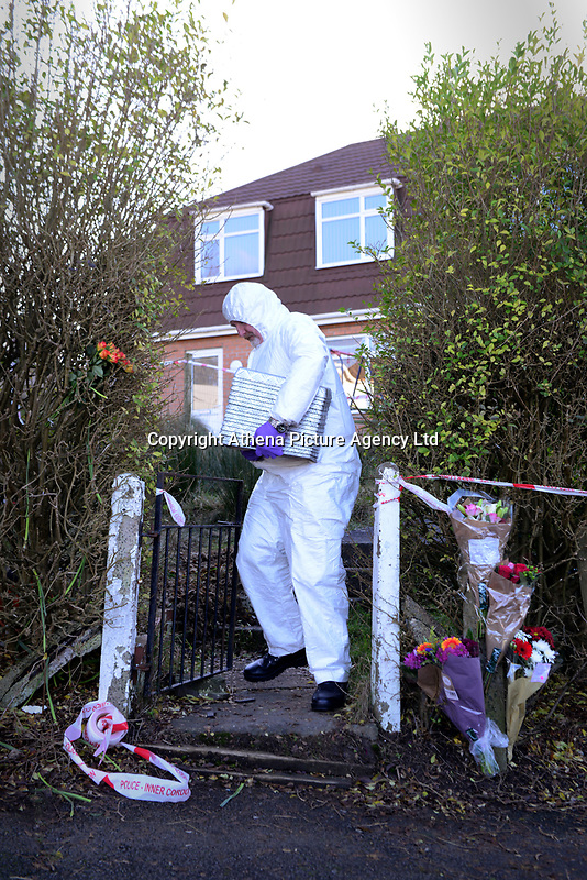 """Pictured: Police and forensics teams collecting evidence at at the house where the body of Terri-Anne Jones was discovered in Cimla, Neath, Wales.<br /> Re: John Paul Lewis who stabbed his girlfriend Terrie-Ann Jones 26 times and then went to the pub has been jailed for life for her murder.<br /> 55 year old Lewis, left the mother of two, 33 year old Terrie-Ann Jones, in a pool of blood after the attack in her home in Cimla, south Wales, on 5 January 2018.<br /> He then took money from her purse, changed his clothes and went to the pub, Swansea Crown Court was told.<br /> Lewis, who initially claimed he was acting in self-defence, must serve a minimum of 19 years.<br /> He had pleaded not guilty to murder but was convicted by a jury.<br /> Ms Jones's family said in a statement after the verdict : """"Everyone that knew her loved her and we cannot tell you how much we are missing her.<br /> """"Her passing has forever changed the lives of her daughter and little boy, who at nine years old doesn't understand why his mummy isn't here to play with him any more."""""""