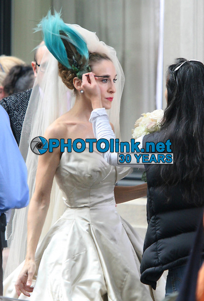 Sarah Jessica Parker filming ''Sex In The City 2'' 2009<br /> Photo By John Barrett/CelebrityArchaeology.com