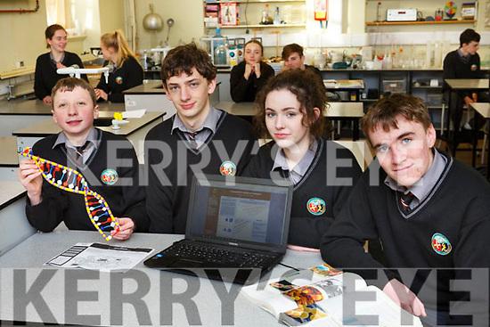 The Gael Colaiste Chairrai students, l to r, Aindriu O'Muimhneachain, Cian O'Muireagain, Leah Ni Sheanachain and Sean O'Loingsigh going forward to BT Young Scientists  Exhibition.