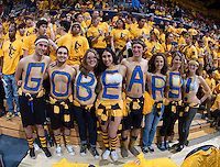 "California ""GOBEARS"" fans are pictured before the game against Arizona at Haas Pavilion in Berkeley, California on February 1st, 2014.  California Golden Bears defeated Arizona Wildcats, 60-58."