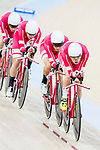 The team of Denmark with Julius Johansen, Niklas Larsen, Frederik Madsen and Casper Von Folsach compete in the Men's Team Pursuit - Qualifying match as part of the Men's Team Pursuit - Qualifying match as part of the 2017 UCI Track Cycling World Championships on 12 April 2017, in Hong Kong Velodrome, Hong Kong, China. Photo by Victor Fraile / Power Sport Images