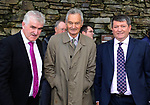Danny Tim O'Sullivan, Mick O'Connell and Noel O'Sullivan at the unveiling of a  statue  to honour World War II hero Monsignor Hugh O'Flaherty in his hometown  of Killarney on on the 50th anniversary of his death on Wednesday. Picture: Eamonn Keogh ( MacMonagle, Killarney)