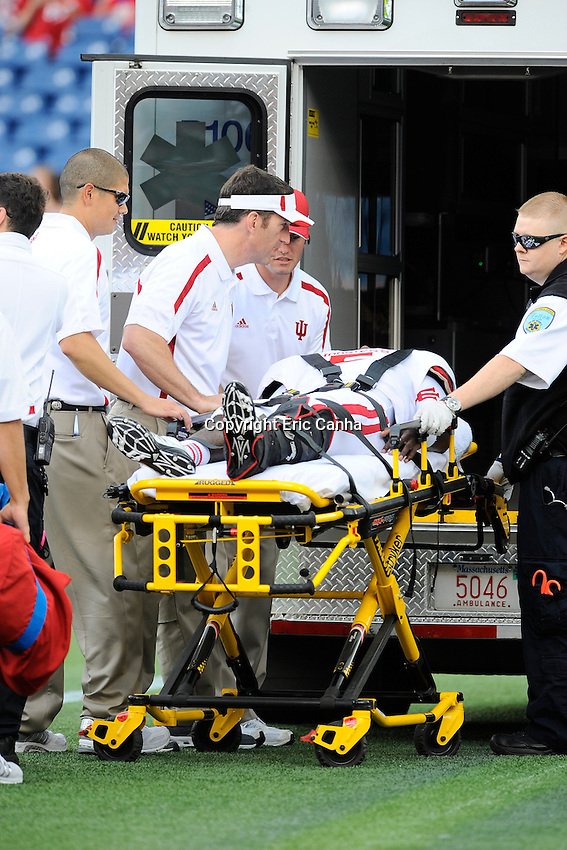 September 8, 2012 Tre Roberson #5 of the Indiana Hoosiers is loaded into an ambulance on the field after being injured during  game action at the Indiana Hoosiers  vs University of Massachusetts Minutemen held at Gillette Stadium in Foxborough, Massachusetts.  Eric Canha/CSM