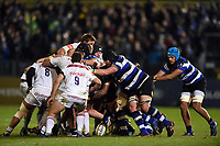 A general view of a scrum breaking up. Anglo-Welsh Cup match, between Bath Rugby and Leicester Tigers on November 10, 2017 at the Recreation Ground in Bath, England. Photo by: Patrick Khachfe / Onside Images