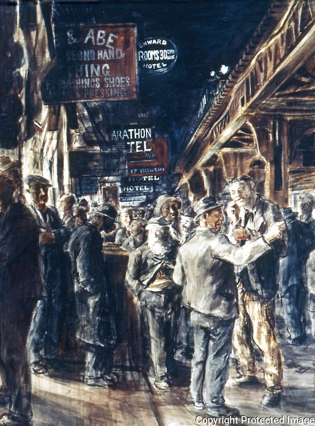 American Painters:  Reginald Marsh--The Bowery, 1930.  Tempera/canvas.  Metropolitan Museum of Art.