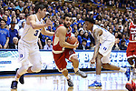 30 October 2015: Florida Southern's Michael Volovic (2) and Duke's Grayson Allen (3). The Duke University Blue Devils hosted the Florida Southern College Moccasins at Cameron Indoor Stadium in Durham, North Carolina in a 2015-16 NCAA Men's Basketball Exhibition game. Duke won the game 112-68.