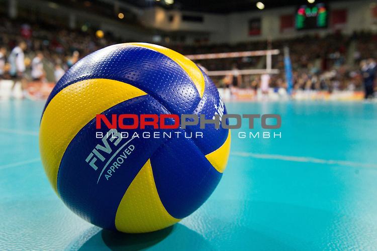 05.01.2014, MHP Arena, Ludwigsburg<br /> Volleyball, Qualifikation WM 2014, Deutschland vs. T&uuml;rkei / Tuerkei<br /> <br /> Feature Ball<br /> <br />   Foto &copy; nordphoto / Kurth